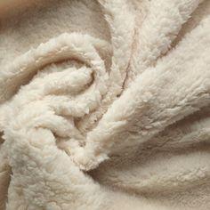 Luxury Sherpa Fleece Fabric Plain Cream Soft by OnTrendFabrics