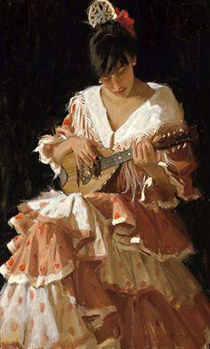 Flameco Lady by Gladys Roldan-de-Moras Oil ~ 36 x 24