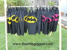 from thelittlegiggler.com: batman cape how-to. she made these for a theme birthday party. also some superhero masks.