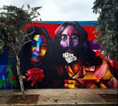 John & Yoko by Eduardo Kobra in Miami, FL, 12/15 (LP)