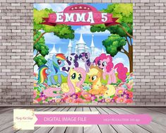 My Little Pony Birthday, My Little Pony Party, My Little Pony Printable, Short Birthday Wishes, Backdrop Design, Party Places, Banner Images, Birthday Backdrop, 4th Birthday