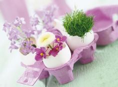 Recycling egg shells for miniature vases offer great ideas for spring crafts and make Easter decorating eco friendly, natural and interesting Easter Arts And Crafts, Spring Crafts, Easter Table Decorations, Decoration Table, Easter Decor, Flower Centerpieces, Flower Arrangements, Deco Floral, Floral Design