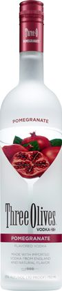 Pomegranate Martini  1½ parts Three Olives Pomegranate Vodka  1 part pomegranate liqueur  ½ part grenadine  3 parts cranberry juice  Shake with ice and strain into a martini glass.  Garnish with a lime.