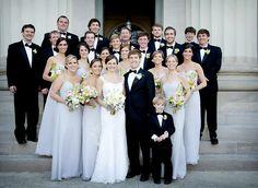 Pale Blue-Gray Bridesmaids Dresses.