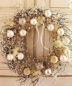 Elegant Christmas wreath. Very pretty! Would look good in January also.