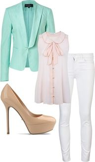 Business casual. LOVE these colors. Mint, pale pink, white, and nude.