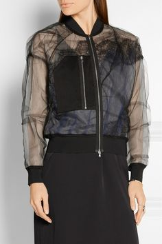3.1 Phillip Lim | Satin and lace-paneled tulle bomber jacket | NET-A-PORTER.COM
