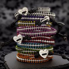 Wanti-Wanti Wraps Sterling Silver and Leather Wrap Bracelets - Annie Haak Wrap Bracelets, Handmade Bracelets, Diy Jewelry, Jewellery, Leather Cord, Birthday Wishes, Annie, Friendship Bracelets, Macrame