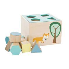 Wooden Toy Box Turquoise Fox, sebra
