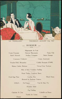 Pennland Dinner Menu Thursday, August 1927 The Museum of Fine Arts, Boston Restaurant Names, Restaurant Menu Design, Vintage Restaurant, Vintage Menu, Vintage Recipes, Vintage Food, Vintage Hotels, Cod Fish, Profiteroles