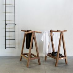 SERVANT by Matej Chabera - Floor-mounted valet stand / contemporary / wooden by LUGI Furniture Inspiration, Home Decor Inspiration, Clothes Stand, Diy Clothes Valet, Valet Stand, Home Bedroom, Home Projects, Wardrobe Rack, Woodworking Plans