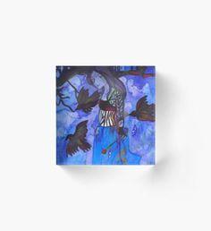 Raven Witch - Electric Blue Acrylic Block Halloween Celebration, Electric Blue, Raven, Fantasy Art, Witch, Autumn, Wall Art, Artwork, Poster