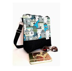 Cross body bag with black City cats in blue, Linen and denim bag, Women's bag, Everyday crossbody bag, Birthday gifts, Canvas bag,