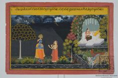 Meeting of Krishna and Radha. Natural colour on paper, Mewar, Rajasthan, 18th century, National Museum, New Delhi, Krishna and Radha are standing facing each and are engaged in a conversation . On the right, Radha's confidante is seated on a raised platform under a bower. Flowering plants can be seen on the river bank. Stormy clouds and golden streaks of lightning are seen in the sky.
