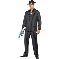 Zwart gangster kostuum heren  Gangster kostuum. Gangster kostuum voor heren is inclusief Zwart/wit gestreepte gangster broek gangster jas met rode broche en stropdas. Ga verkleed als een echte gangster met gangster kostuum voor heren. Dit stoere gangster kostuum voor heren wordt geleverd exclusief hoed deze gangster hoed is tevens wel los verkrijgbaar.  EUR 64.95  Meer informatie