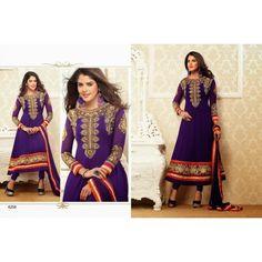 Designer anarkali partywear bridel indian pakistani purple embroided  salwar suit