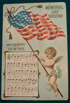 Memorial Day Art ★ Vintage Greeting Card, free piece of American Memorial Day History a beautiful printable copyright free public domain Vintage Memorial Day American Patriotic Picture Greeting Post Card: Memorial Day Souvenir card with an image of cute c Patriotic Crafts, Patriotic Decorations, Patriotic Party, July Crafts, Holiday Crafts, Vintage Greeting Cards, Vintage Postcards, Holiday Postcards, Vintage Ephemera