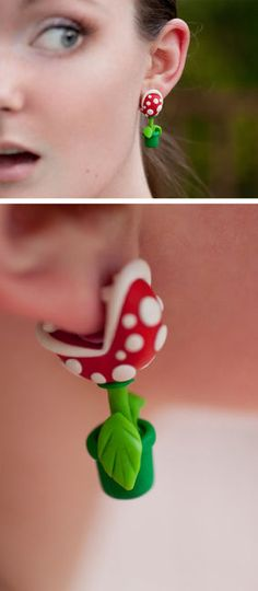The original YOUCH Piranha Plant Earrings. These are just super fun. #earrings #jewelry #accessories☆〜(ゝ。∂)(≧∇≦)*\(^o^)/*