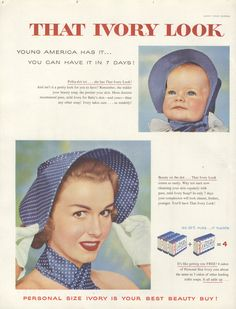 1955+Ad+Ivory+Soap+Will+Give+You+Baby+Skin+Polka+Dot+Hats++++91955LHJ