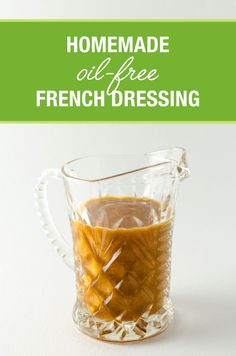 This homemade oil-free french dressing recipe is just as tasty as full-fat store-bought, but it;s made with simple, healthy ingredients. It's also GF. Vegan Sauces, Vegan Foods, Vegan Recipes, Vegan Lunches, Oil Free Salad Dressing, Salad Dressing Recipes, Fat Free Salad Dressing Recipe, Plant Based Whole Foods, Plant Based Recipes