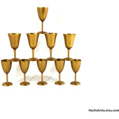 1960s Toasting Glass Set, Gold with Lacquered Bases, Set of 10 (€28) ❤ liked on Polyvore featuring home, kitchen & dining and serveware