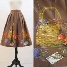50s Skirt Vintage Border Novelty Print Knitting Basket Cateye Glasses Full Skirt XL