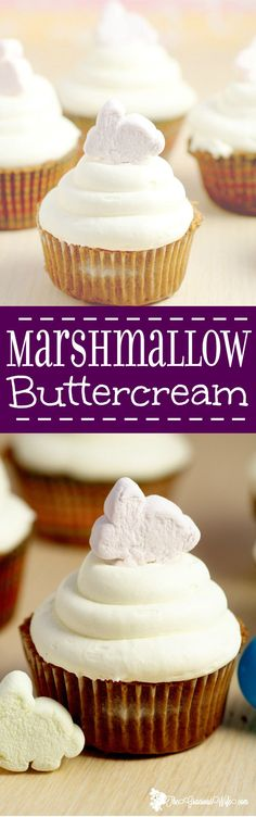 Marshmallow Frosting Recipe - a fun spin on buttercream with marshmallow creme, making a simple, sticky, and sweet Marshmallow Frosting. Perfect your favorite best homemade cupcakes recipes. This would be amazing for S'mores cupcakes!