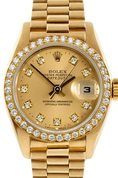 Women's President 18K Yellow Gold Watch.