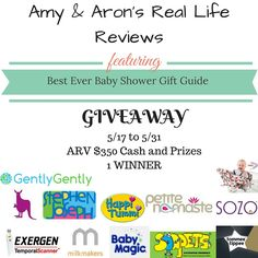 Spread the love81Yum9Shares  Hosted By Amy & Aron's Real Life Reviews Sponsored By: Amy & Aron's Real Life Reviews Stephen Joseph Kangovou Happi Tummi Petite Namaste SOZO Exergene Milk Makers Baby Magic Soappets Tommee Tippee GentlyGently MushyBaby ~Prizes~ $350 Cash and Prizes Bundle Amy & Aron's Real Life Reviews $50 PayPal Cash Stephen Joseph...Read More »