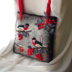 Laine feutrée Sac feutré laine feutre bouvreuils-sac à main sac à main en feutre-sac à main en cuir feutre de poignées sac-rouge naturel, noir