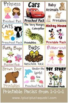 """wonderful free Printables Packs from 1plus1plus1equals1.  love her take on """"tot school"""" .. just fun and play is learning. not structured.  best collection of ideas and she makes GREAT printables. Tots, preschhol, and pre-k collections."""