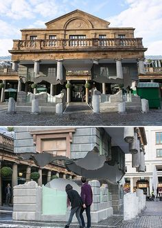 Alex Chinneck at Covent Garden, Take my lightning but don't steal my thunder, 2014. The entrance to the Victorian market  is hanging in thin air! (The polystyrene facade  is connected to the innocuous green market cart which houses a 6-tonne counterweight.)