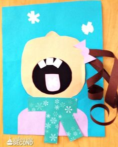 girl catching snowflakes craft
