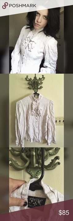 Shrine Antoinette Top Picked this up at Trash & Vaudeville in NYC a couple years back. Aside from a few photo shoots it's lived in a suitcase and has hardly been worn as it's a little too small for me. It's in super good condition without tears or stains, but could use some ironing. Shrine Of Hollywood Tops Blouses