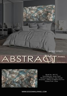 Abstract Panel represent an innovative reality in the world of wall murals.The state-of-the-art detection and hot press technology allows to have a perfect quality and super-defined visual impact very similar stone, marble, agate, onyx slabs. This panel can be appreciated with or without backlit. Its lightweight nature eases the installation process. Comes with matt and glossy surfaces.