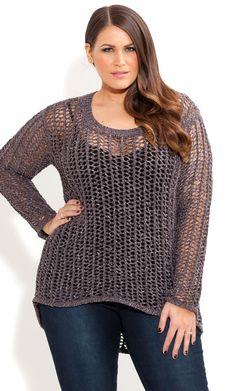 City Chic - COOL WEAVE JUMPER - Women's plus size fashion