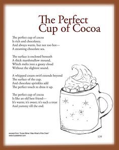 "Children's Poem about the Perfect cup of cocoa. Fun for school activities! Excerpt from ""Suzie Bitner Was Afraid of the Drain""."