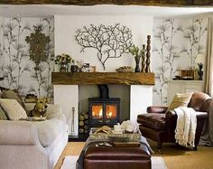 I want a mantle just like this... (JUST the wooden mantle) over my gas log stove!