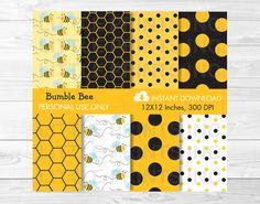 Cute Bumble Bee Digital Paper / Bumble Bee от LittlePrintsParties