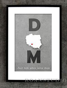 Typograficzny plakat w ramie  DOM - POLSKA w Roanstudio na DaWanda.com
