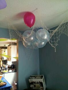Bubble guppies decorations-hang balloons with a marble from the ceiling with fishing line at different heights to give illusion of bubbles floating? Bubble Guppies Decorations, Bubble Guppies Party, Aurora, Underwater Birthday, Nick Jr, Guppy, Bunk Bed, Bed Ideas, 2nd Birthday Parties