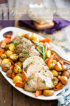 Maple Garlic Pork Roast with Carrots and Potatoes