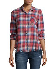 The Prep School Shirt, Wonder Plaid, Women's, Size: 2 - Current/Elliott