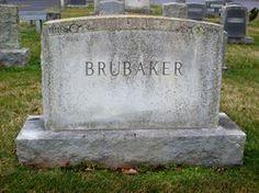 Brubaker family headstone in Antioch Church of the Brethren Cemetery, Franklin Co., VA
