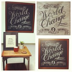 """Our """"World Change"""" chalk art piece along with the original drawing… like it? :)"""