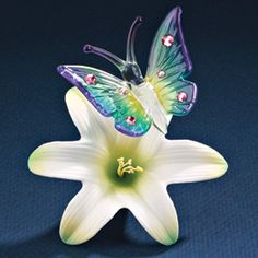 Blue Butterfly Glass Figurine.  Sale Priced At $27.  #GP6060.