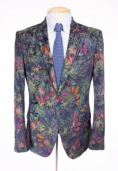 SUSLO COUTURE Mens New Velvet Smoking Jacket 40 M Slim Multi Color Floral Blazer #SusloCouture #OneButton