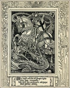 St. George and the Dragon illustration by Walter Crane for Book I of Spenser's Faerie Queene.