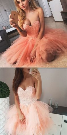Sweetheart Beaded Tulle Homecoming Dresses, Lovely Homecoming Dresses, Sexy Homecoming Dresses, from Focusdress · HotProm · Online Store Powered by Storenvy Elegant Homecoming Dresses, Pretty Prom Dresses, Hoco Dresses, Sexy Dresses, Fashion Dresses, Bridesmaid Dresses, Beaded Dresses, Prom Outfits, Dance Dresses