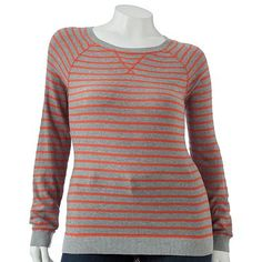 orange/gray striped sweater